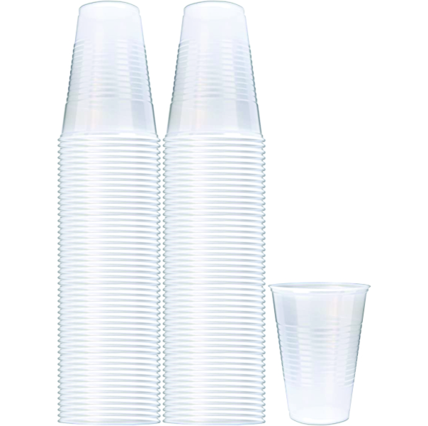 100ct Flat Bottom Plastic 9oz Cups B5005